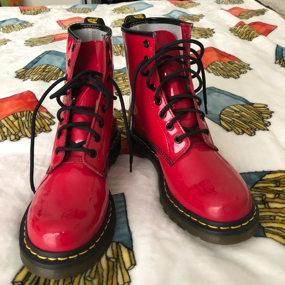 6a43c137db0d Dr. Martens Shoes - Dr. Marten Airwair red leather boots size 8